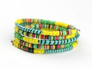 Spiralarmband aus recycelten Flip Flops - gelb-grün