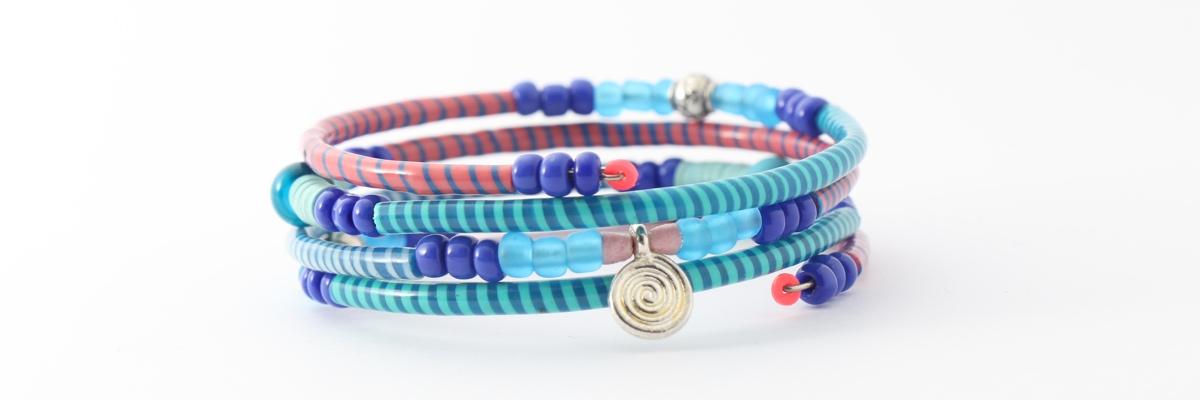 Armband - Recycling Flip-Flops - blaurosa - groß