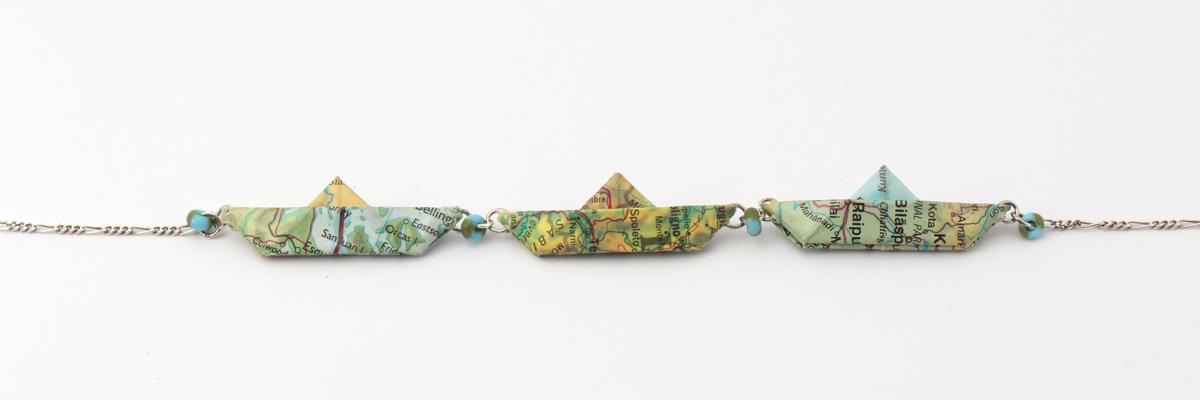 Kette mit 3 Papierschiffchen - Kollektion Freedom - blaugrün