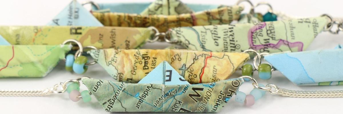 Kette mit Papierschiffchen - Kollektion Freedom - viele